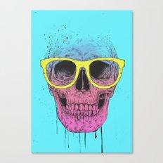 Pop art skull with glasses Canvas Print