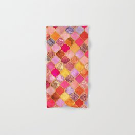 Hot Pink, Gold, Tangerine & Taupe Decorative Moroccan Tile Pattern Hand & Bath Towel