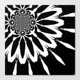 The Modern Flower Black & White Canvas Print