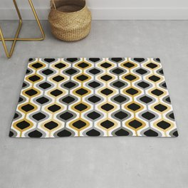 Mid Century Modern Rounded Diamond Pattern // Black, Gray, Gold, Butter Yellow // Version 2 Rug