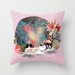 Tea Party in Another World Throw Pillow