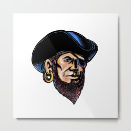 Buccaneer Eye Patch Scratchboard Metal Print
