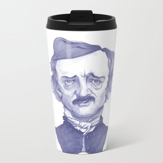 Edgar Allan Poe illustration Metal Travel Mug