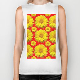 "YELLOW COREOPSIS ""TICK SEED"" FLOWERS RED PATTERN Biker Tank"