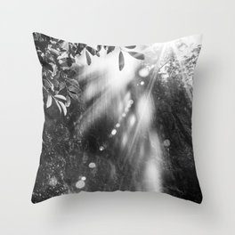 Amazing waterfall in sunshine forest - fine art Throw Pillow