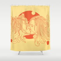 kiss Shower Curtains featuring Kiss by Roberlan Borges