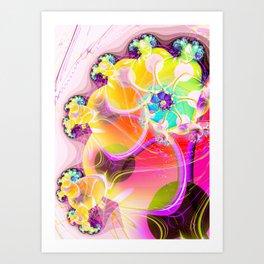 Modern Abstract spiral fractal flowers digital art Art Print