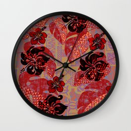 On Fire Kona Tropical Floral Wall Clock