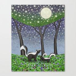 starlit striped skunks Canvas Print