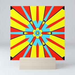Abstract geometric infinite celestial circle star sun flower burst pattern design in red yellow blue Mini Art Print