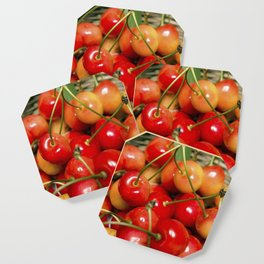 Cherries in a Basket Close Up Coaster