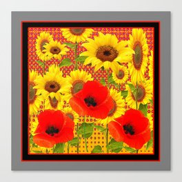 RED POPPIES YELLOW SUNFLOWERS  GREY PATTERN ART Canvas Print