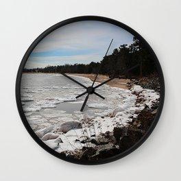 Ice on the Rocky Shore Wall Clock