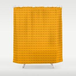 Phillip Gallant Media Design - Black Squiggles on Orange Shower Curtain