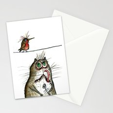 A Cat ponders, fish or poultry? Stationery Cards
