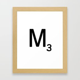 Letter M - Custom Scrabble Letter Tile Art - Scrabble M Initial Framed Art Print