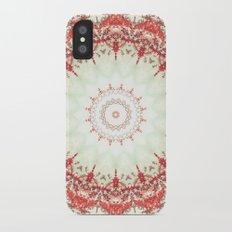Autumn's Splendor Mandala -- Russet Red Leaves on Pale Mint iPhone X Slim Case