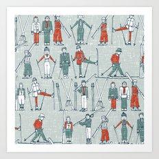 vintage ski linen Art Print