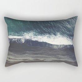 Arctic Ocean - Volcano black sand beach and foam Rectangular Pillow