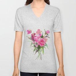 soft pink peonies Unisex V-Neck