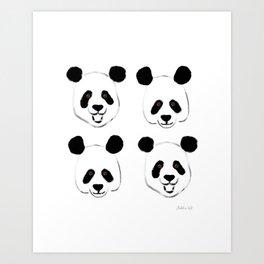 Happy Hand-painted Pandas Artwork and Pattern Art Print