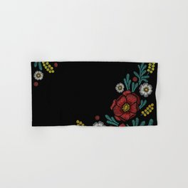 Embroidered Flowers on Black Corner 04 Hand & Bath Towel