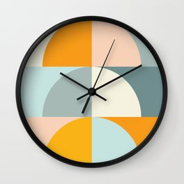Summer Evening Geometric Shapes in Soft Blue and Orange Wall Clock