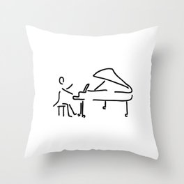 pianist musician plays the piano Throw Pillow