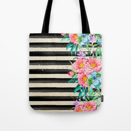 Modern stripes and tropical flowers hand paint Tote Bag