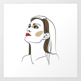 Woman with long hair and red lipstick. Abstract face. Fashion illustration Art Print