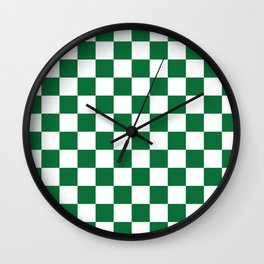 Checkered (Dark Green & White Pattern) Wall Clock