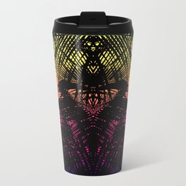 Tropical Black Palm Fronds on Pink Orange Yellow Travel Mug