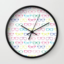 Retro Vintage Nerdy Glasses Pattern Wall Clock