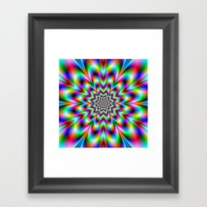 Neon Flower in Green Red and Blue Framed Art Print