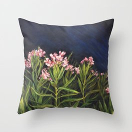 Oleander_Oil on wood Throw Pillow