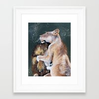 cuddle Framed Art Prints featuring CUDDLE. by AnnMarie Dione