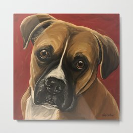 Boxer art from original Boxer Dog Painting Metal Print