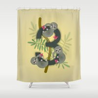 sloths Shower Curtains featuring 3 is for Three three-toed sloths by JaimeeJaniga