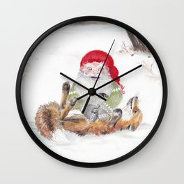 The gnome and his friend the fox - Christmas Wall Clock