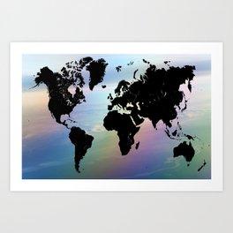 Rainbow Ocean World Map Art Print