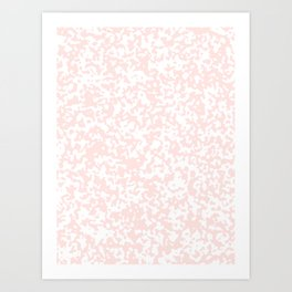Small Spots - White and Pastel Pink Art Print