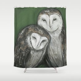 Soul Mates // Barn Owls Owl Bird Feather Wing Nature Love Animal Wild Nest Couple Marriage Family Shower Curtain