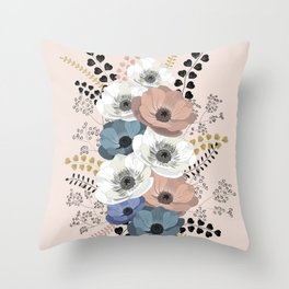 Anemones bouquet pink pastel Throw Pillow
