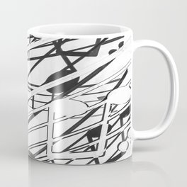 music note sign pattern abstract background in black and white Coffee Mug