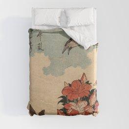Hokusai Cuckoo and azaleas -hokusai,manga,japan,Katsushika,cuckoo,azaleas,Rhododendron Duvet Cover