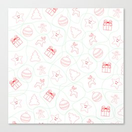 Christmas pattern on red, green and white colors Canvas Print