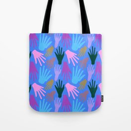 Minimalist Hands in Blue Tote Bag