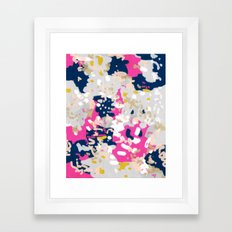 Michel - Abstract, girly, trendy art with pink, navy, blush, mustard for cell phones, dorm decor etc Framed Art Print