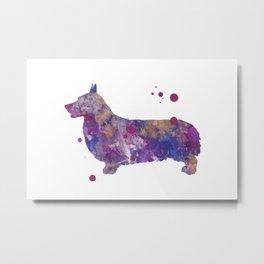 Purple Corgi Watercolor Painting Metal Print