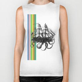 Kraken Attacking ship on Colorful Stripes Biker Tank